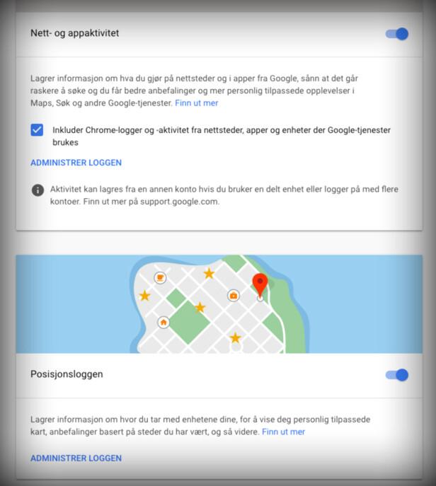 LAGRER POSISJON FLERE STEDER: Det holder ikke å skru av posisjonsloggen om du vil at Google ikke skal vite hvor du har vært. Skjermbilde: Kirsti Østvang