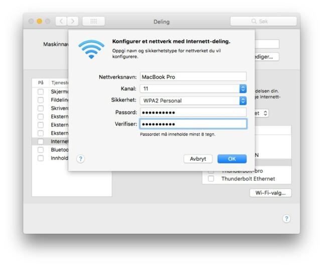 Standard i MacOS er at nettdeling skjer uten kryptering. Vi anbefaler deg å slå den på. Skjermbilde: Pål Joakim Pollen