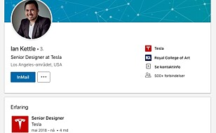 NY JOBB: Ian Kettle har meldt overgang til Tesla. Skjermdump: LinkedIn