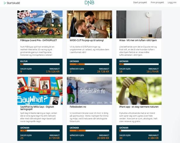 STARTHJELP: På DNBs folkefinansierte låneplattform kan du følge med på hvor mye du får fra investorer, eller se hvordan selskapet du har investert i gjør det sammenlignet med andre. Foto: skjermdump.