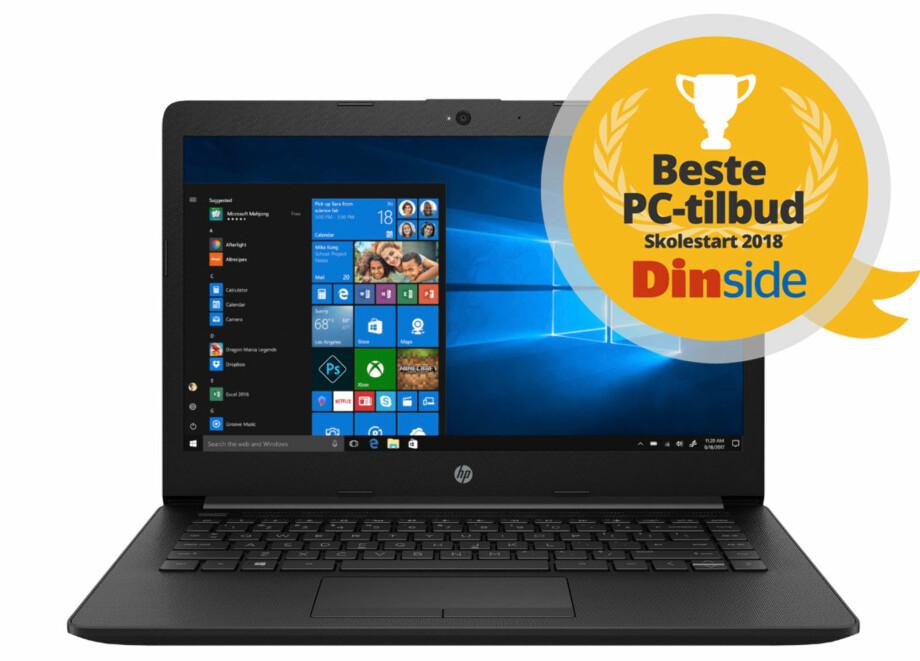 VINNER: Denne PC-en får du for 3.795 kroner akkurat nå. Det er etter vår mening det beste tilbudet for studenter og skoleelever. Illustrasjon: HP/Dinside