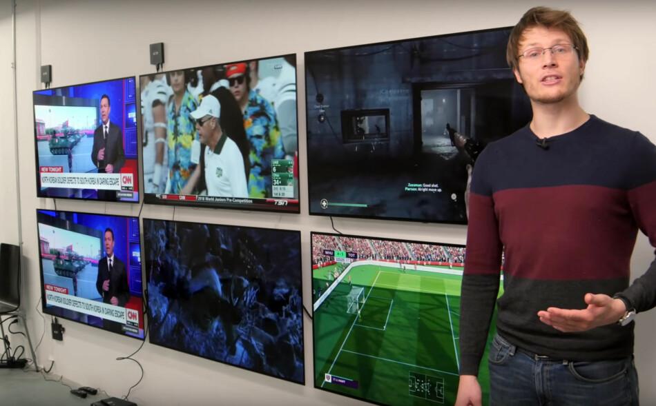 LANGTIDSTEST: Nettstedet Rtings.com er nå inne i sin 28. uke med kontinuerlig testing av innbrenning på OLED-TV-er. Foto: Rtings.com/YouTube