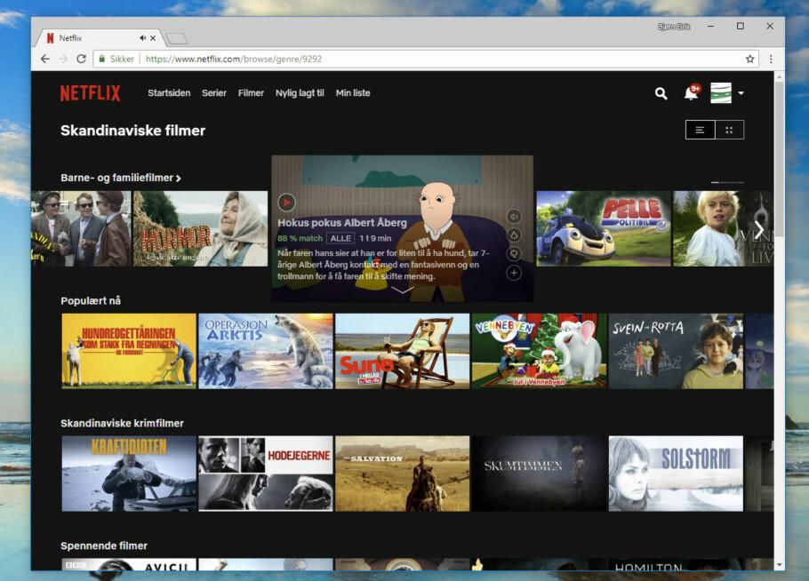 <strong>SKJULT:</strong> Netflix-kategori 9292 inneholder alle skandinaviske filmer i arkivet. Det er bare én av over 27.000 kategorier. Skjermdump: Dinside
