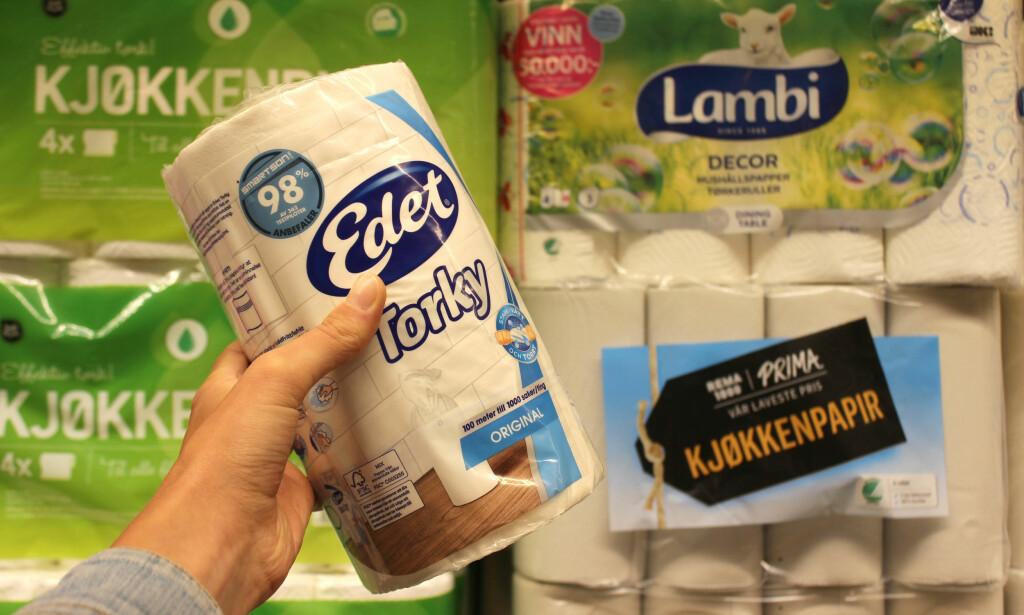 TIL KJØKKENET: Det finnes tørkerull i små og store pakker, fra fellesmerker og egne merkevarer hos dagligvarebutikkene. Dinside har sjekket hvor det koster minst per 100 meter. Foto: Eilin Lindvoll.