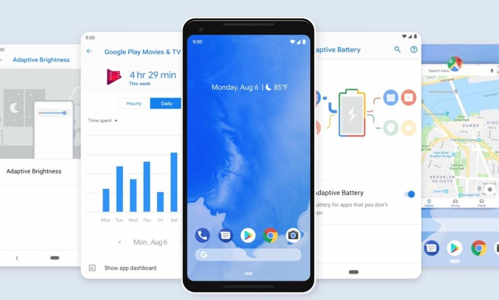 FLERE NYHETER: Android Pie (versjon 9.0) har akkurat landet på de første telefonene. Foto: Google