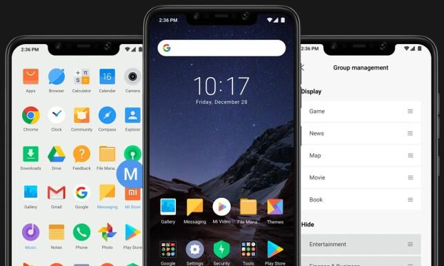 MIUI: Poco F1 bruker, i likhet med Xiaomis øvrige modeller, MIUI-grensesnittet for Android. Her finnes flere smarte funksjoner - blant annet kan man filtrere app-skuffen på ikonfarge. Foto: Poco