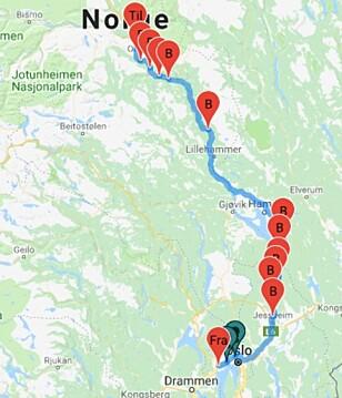 17 BOMMER: I dag må du gjennom 13 bommer mellom Sandvika og Otta. Når E6 mellom Kolomoen og Moelv er ferdig i desember 2020 kan du legge til fire nye.
