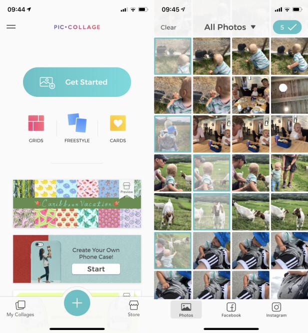 """KOM I GANG: For å lage en fotokollasje, trykk på """"Get Started""""-knappen. Velg deretter hvilke bilder som skal være med. Skjermbilde: Kirsti Østvang"""