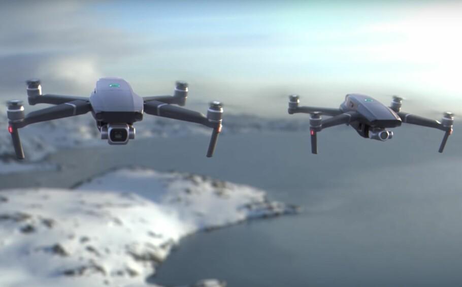 TO NYE: DJI har avduket to nye Mavic 2-droner, henholdsvis Mavic 2 Zoom og Mavic 2 Pro. Foto: DJI