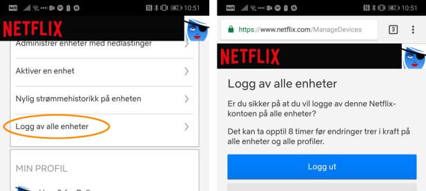 Også på Netflix må du åpne nettsidene for å logge ut andre enheter. Skjermbilde: Pål Joakim Pollen
