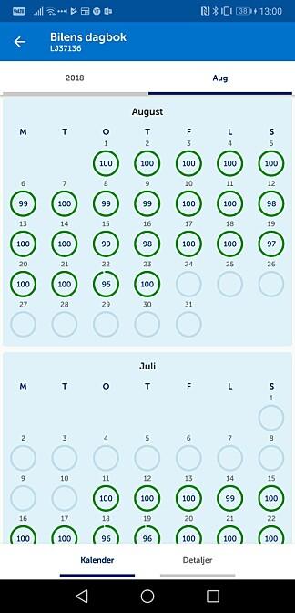 I Spinn-appen kan du følge med på kjøringen, enten i sanntid eller ved å gå tilbake til enkelttdager. Skjermbilde: Pål Joakim Pollen