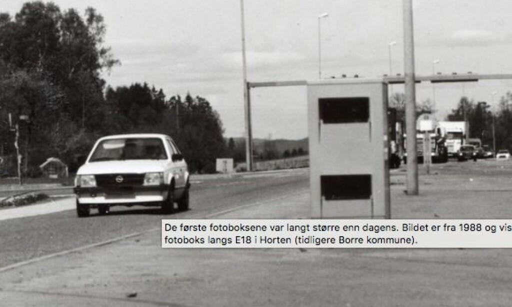 FØRSTE: Dette monsteret av en fotoboks ble satt opp på E18 ved Horten i 1988. Foto: Vegvesenet