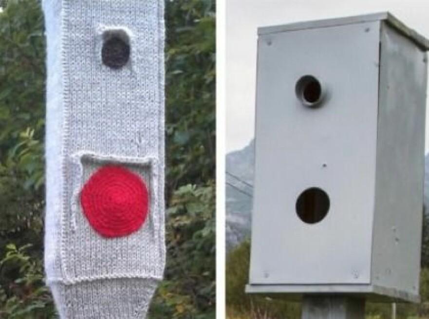 HJEMMELAGD: Flere har forsøkt seg på hjemmelagde bokser for å få ned farten der de bor. Foto: Vegvesenet