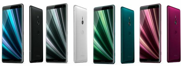 FRISKE FARGER: Vi blir alltid fornøyde når telefoner kommer i noe mer enn sort og sølv. Her får vi både en sjøgrønn og karminrød-aktig utgave. Foto: Sony