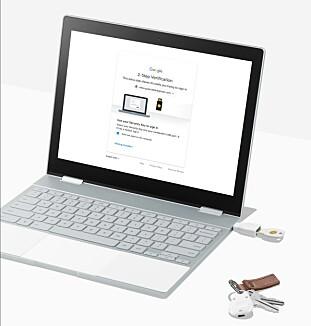 PLUGG INN: Med Titan må du også ha en fysisk plugg for å logge på, i tillegg til passordet. Foto: Google