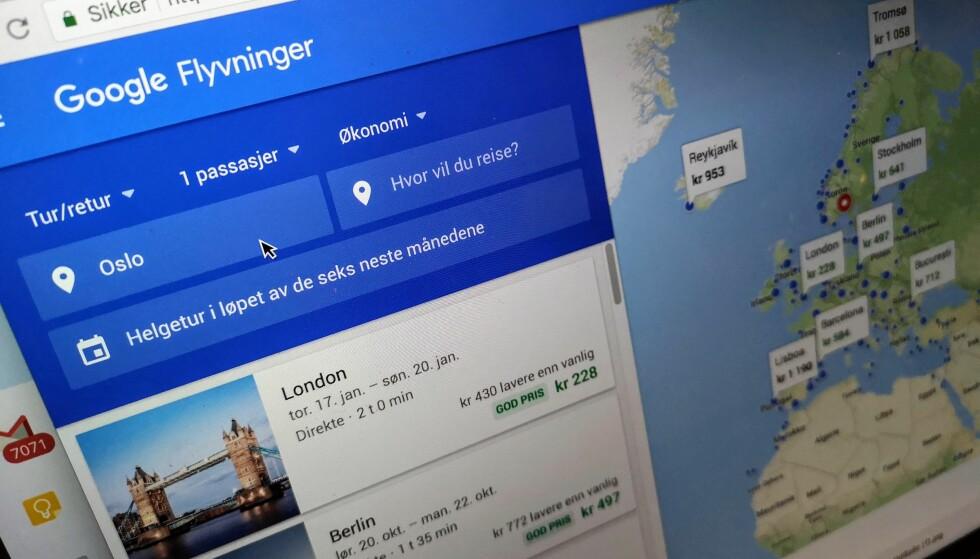 VISER KUPPENE: Er du fleksibel med datoer, kan Googles oppdaterte tjeneste hjelpe deg til godprisene. Foto: Pål Joakim Pollen