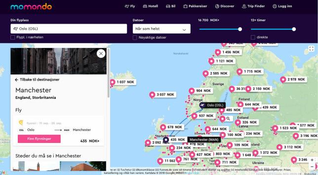 Momondo tilbyr tilsvarende kartsøk, der du under datoer kan angi hvor lenge du ønsker å være borte og i hvilket tidsrom du vil søke. Skjembilde: Pål Joakim Pollen