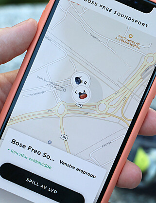 FIND MY BUDS: En funksjon i appen viser deg siste sted pluggene var registrert i et kart. Foto: Kirsti Østvang