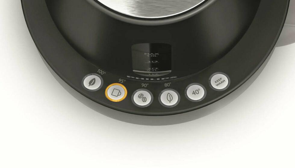SPAR ENERGI: Alle vannkokerne i testen har temperaturvelger, som denne på Philips. Ifølge Energimyndigheten i Sverige kan du redusere energiforbruket fra kannene med 35 prosent ved å redusere vanntemperaturen til 80 grader. Foto: Philips