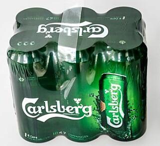 PLAST: Slik ser dagens sekspakning med Carlsberg ut. Foto: nyebilder.no