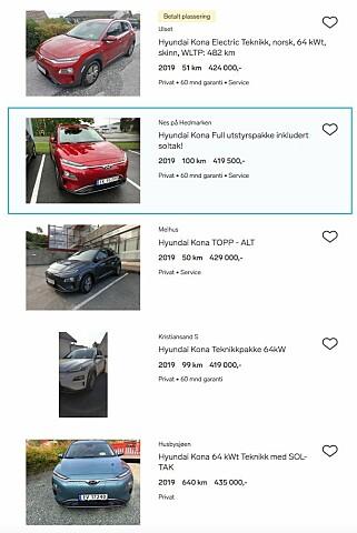 SPEKULERER: Mange forsøker nå å selge sin elektriske Hyundai Kona på nett, med 100.000 kroner i fortjeneste. Faksimile: Finn.no