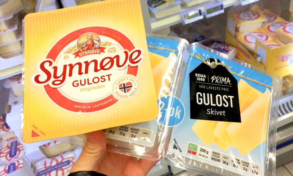SAMME PRODUSENT: Det er Synnøve Finden som produserer Prima-osten til Rema. Foto: Kristin Sørdal