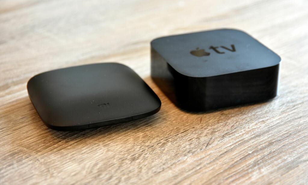 LAV: Sammenlignet med nye Apple TV 4K, er Xiaomi-boksen omtrent på samme størrelse, men halvparten så høy. Foto: Pål Joakim Pollen