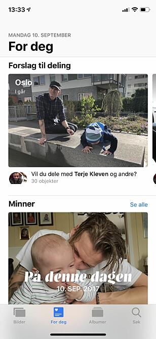 """<strong>PERSONLIGE FORSLAG:</strong> Bilder-appen har fått flere """"smarte"""" funksjoner i iOS 12 som hjelper deg med å finne bilder å dele med andre. Eller bare finne bilder det kan være verdt å se på igjen. Skjermbilde: Kirsti Østvang"""