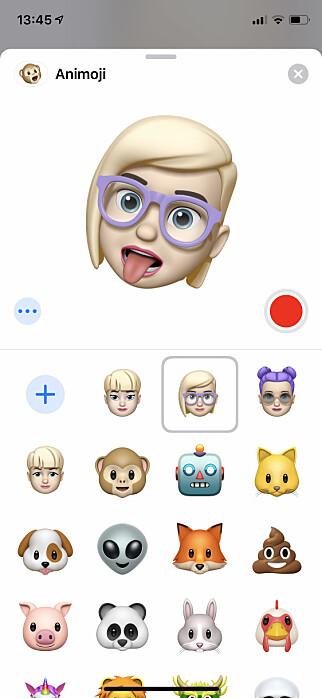 EMOJI AV DEG SELV: Tro det eller ei, men en av de store nyhetene i iOS 12 er at du kan lage en animert emoji av deg selv. Emojier er nemlig mer populært enn mange kanskje aner. Skjermbilde: Kirsti Østvang