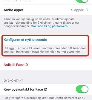 <strong>NYTT UTSEENDE:</strong> Det andre Face ID-ansiktet er nok hovedsaklig ment for deg, men det vil neppe være noe i veien for at du kan registrere ansiktet til noen andre. Skjermbilde: Kirsti Østvang