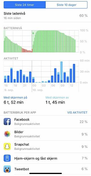 SE HVA SOM SLUKER STRØM: Du får en mer detaljert oversikt over batteribruken i iOS 12. Skjermbilder: Kirsti Østvang