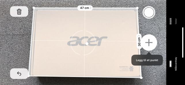 STEMTE NESTEN: Apple bommet bare med en centimeter i bredden på esken, ellers stemte det ganske bra. Skjermbilde: Kirsti Østvang