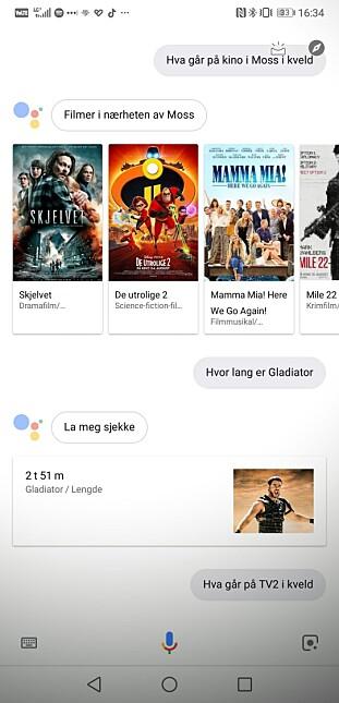 Du kan spørre Google Assistent om mye rart, og stort sett får man fornuftige svar, eller lenke til nettsteder der man finner fornuftige svar. Skjermbilde: Pål Joakim Pollen