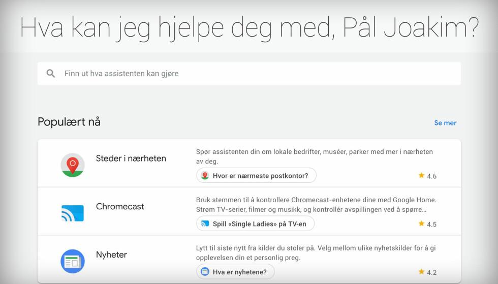 På assistant.google.com kan du se tips til hva du kan be Google Assistent om å gjøre. Skjermbilde: Pål Joakim Pollen