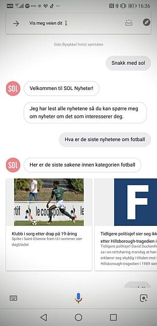 SOL Nyheter er en av flere norske aktører som er med fra start av når Google Assistent lanseres i Norge. Skjermbilde: Pål Joakim Pollen