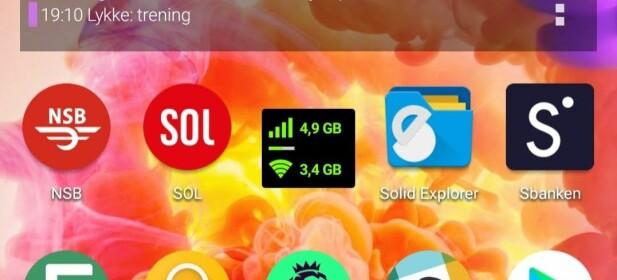 Her ser vi enkelt at vi har brukt 4,9 GB mobildata hittil denne måneden. Skjermbilde: Pål Joakim Pollen