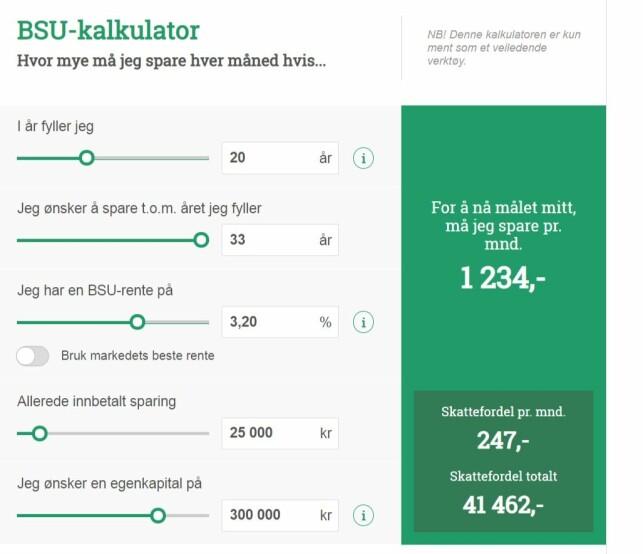 NY KALKULATOR: Slik ser Huseiernes Landsforbunds nye BSU-kalkulator ut. Den skal hjelpe unge å spare til bolig på en lettere måte. Foto: skjermdump.