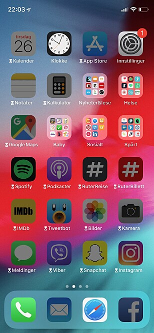 SKJERMFRI TID: Slik ser hjemskjermen ut når funksjonen er aktivert. Her er de fleste apper utilgjengelige. Dessverre for meg. Skjermbilde: Kirsti Østvang