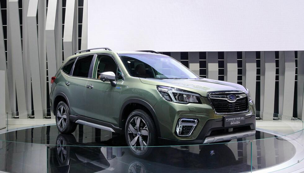 JODA, HELT NY: Subaru har allerede lansert sin nyeste generasjon Forester i Asia, Nord-Amerika og Australia. Hit kommer den til neste år. Her står den utstilt på bilutstillingen i Beijing. Foto: Subaru