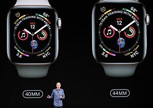 <strong>STØRRE:</strong> Nye Apple Watch er 30 prosent større enn før. Samtidig er de tynnere. Foto: Justin Sullivan/Getty Images/AFP/NTB Scanpix