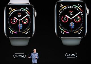 STØRRE: Nye Apple Watch er 30 prosent større enn før. Samtidig er de tynnere. Foto: Justin Sullivan/Getty Images/AFP/NTB Scanpix