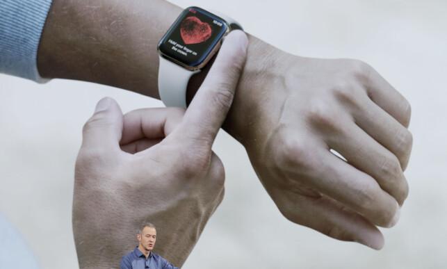 GJØR EN EKG-MÅLING: Åpne en app og trykk på den digitale kronen, og så vil du få en måling av hjerterytmen i løpet av 30 sekunder, som du kan gi til legen din. Foto: Marcio Jose Sanchez/AP Photo/NTB Scanpix