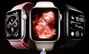 <strong>BEDRE URSKIVER:</strong> Den større skjermen på Apple Watch Series 4 gir plass til mer informasjon på skjermen. Den har nye urskiver som kan vise enda flere komplikasjoner. Foto: Noah Berger/AFP Photo/NTB Scanpix