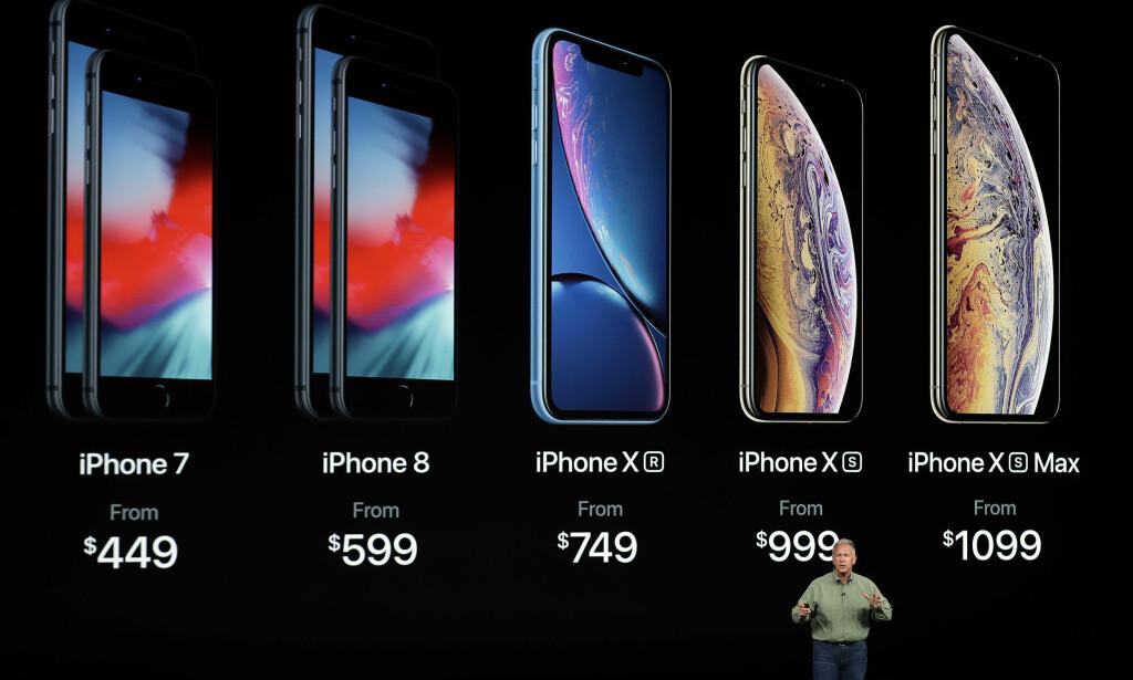 DE GAMLE FORBLIR I SALG: iPhone 7 og iPhone 8 vil selges ved siden av iPhone Xr, Xs og Xs Max. Foto: Marcio Jose Sanchez/AFP Photo/NTB Scanpix