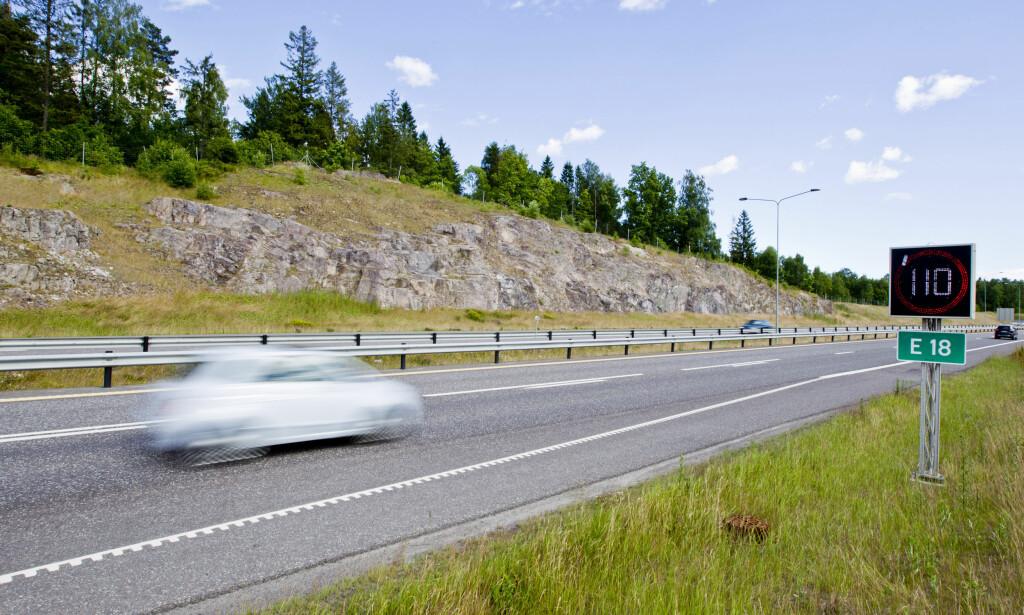BILLIGST: Ved Gulli på E18 i Vestfold finner du Norges rimeligste bompassering - til 5 kroner per passering for personbiler. Foto: NTB Scanpix
