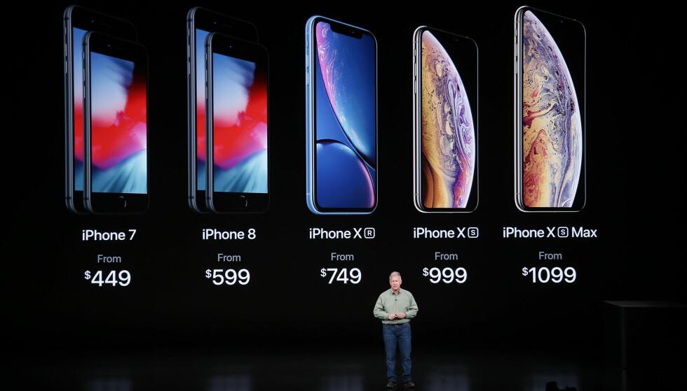 DAGENS UTVALG: Her er de ulike iPhone-modellene du nå får kjøpt fra Apple. Foto: Karl Mondon/NTB Scanpix