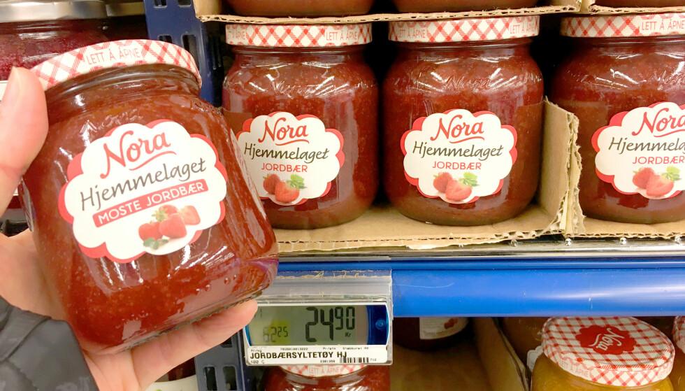 Merkelig prisforskjell på jordbærsyltetøy - fra samme produsent!