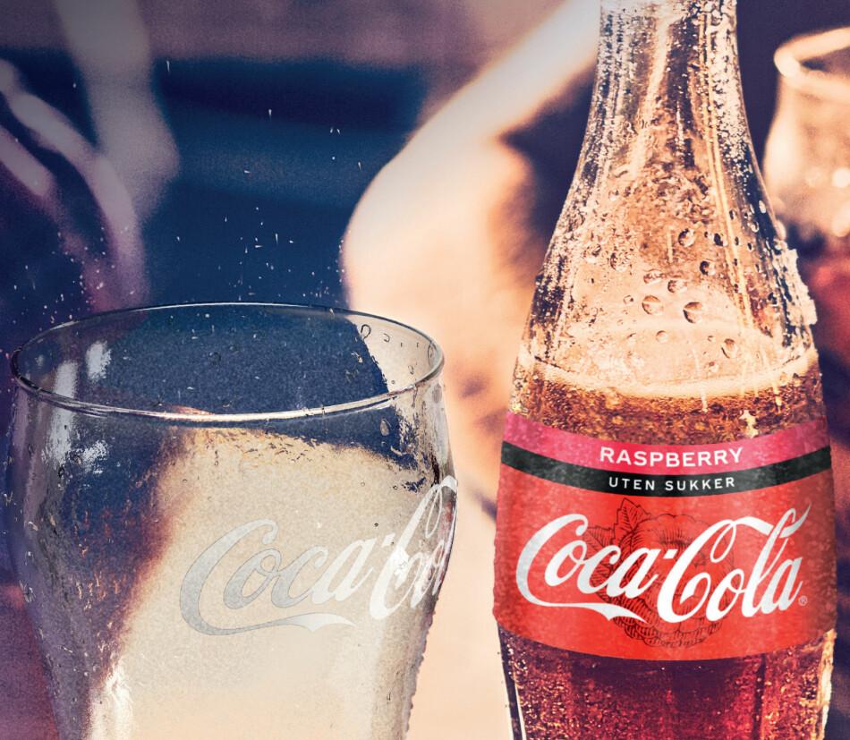 NY COLA: Nå kommer Coca-Cola med bringebærsmak. Foto: Coca-Cola