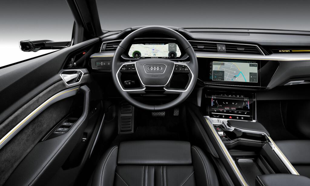 EKTE AUDI: Det er ikke tatt noen snarveier, og du får den samme følelsen i e-tron som de øvrige modellene fra Audi.