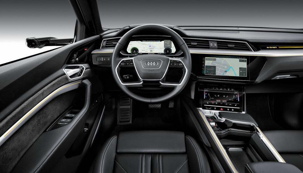 <strong>EKTE AUDI:</strong> Det er ikke tatt noen snarveier, og du får den samme følelsen i e-tron som de øvrige modellene fra Audi.